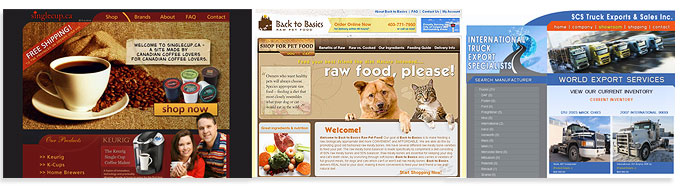 Calgary online store & Ecommerce Specialists | Online Stores Made by WebCandy.ca | Shown here are screenshots of some of our stores including Single Cup, Back to Basics Raw Pet Food and SCS Trucks